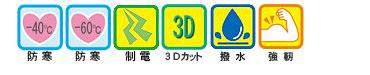 -40度防寒・-60℃防寒・制電・3Dカット・撥水・強靭